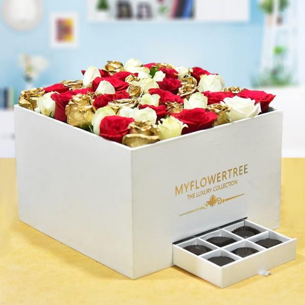 50 Roses in Luxury Box