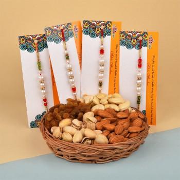 Send Set Of 4 Rakhi Online