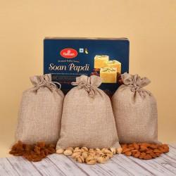 Soan Papdi N Dry Fruits Jute Potli