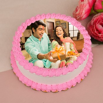 One Kg Pineapple Photo Cake for Rakhi