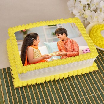 1 Kg Square Shape Photo Pineapple Cake for Brother on Rakhi