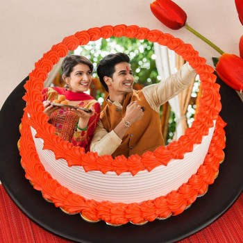 1 Kg Photo Pineapple Cake for Raksha Bandhan