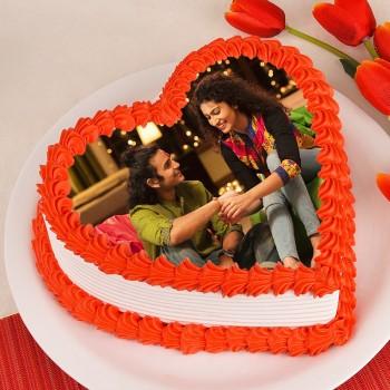 One Kg Heart Shaped Pineapple Photo Cake for Rakhi