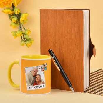 Combo of Wooden Textured Dairy and Yellow Handle Mug for Parents