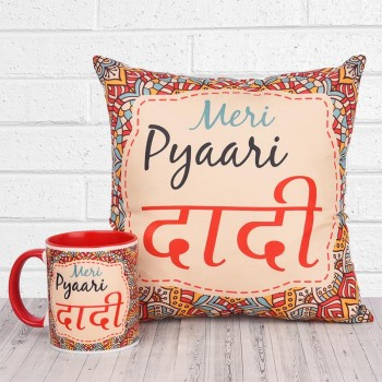 Meri Pyaari Dadi Combo of Coffee Mug and Cushion
