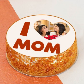 One Kg Butterscotch Personalised Photo Cake for Mom