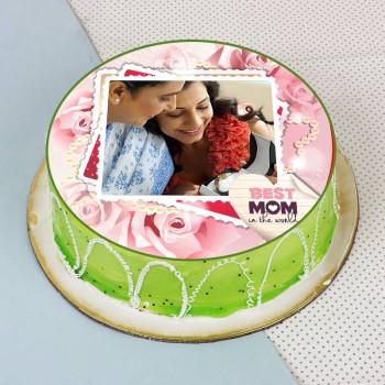 One Kg Kiwi Fruit Personalised Photo Cake for Mother