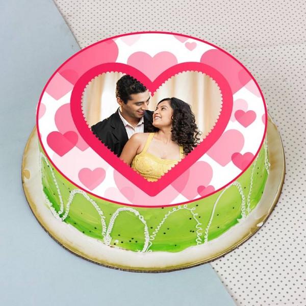 One Kg Kiwi Fruit Crea Personalised Cake