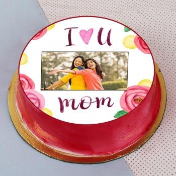 One Kg Strawberry Personalised Photo Cake for Mom