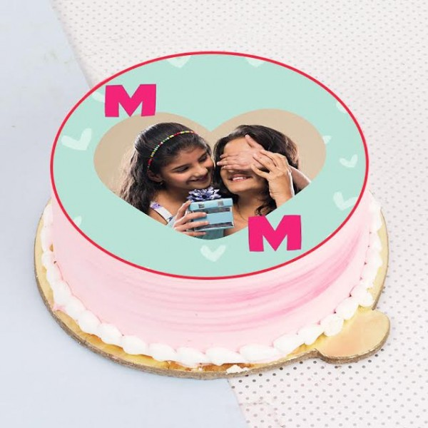 One Kg Strawberry Personalised Photo Cake for Mother