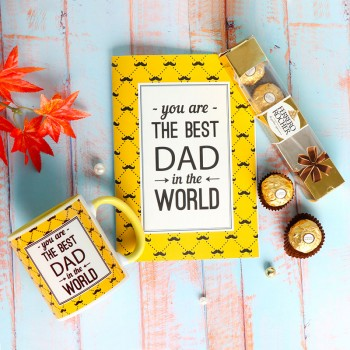 One Personalised Yellow Handle Ceramic Mug for DAD with Greeting Card and 4 pcs Ferrero Rocher Chocolate