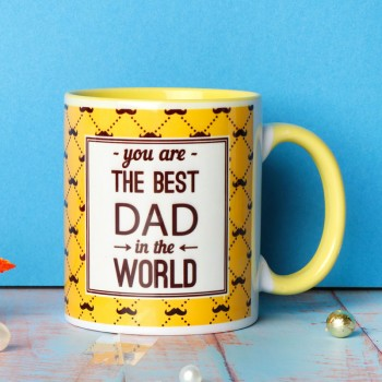 One Personalised Yellow Handle Ceramic Mug for DAD