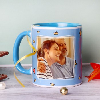 One Personalised Blue Handle Ceramic Mug for DAD