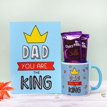 One Personalised Blue Handle Ceramic Mug for Dad with Greeting Card and 2 Dairy Milk Silk Chocolate