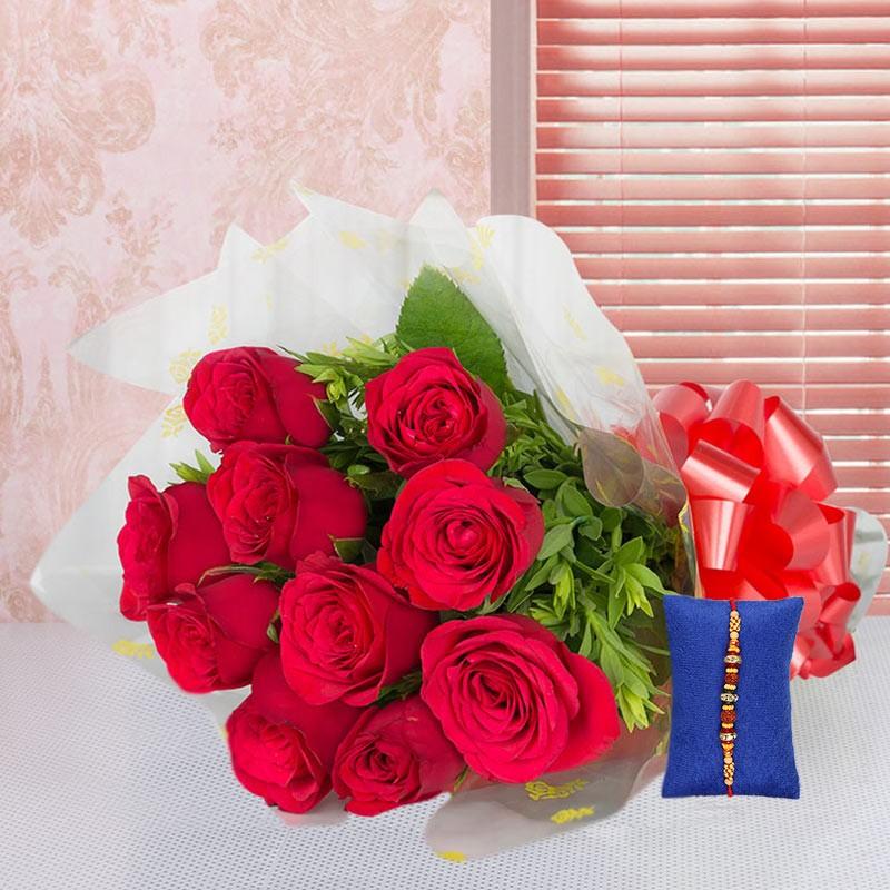 Red Roses Rakhi Hamper