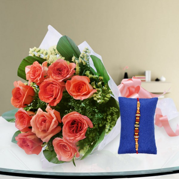 Orange Roses Rakhi Hamper