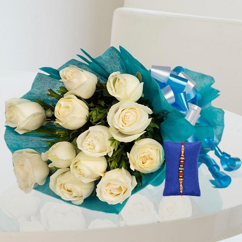 White Roses Rakhi Hamper