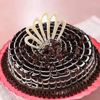 Half Kg Chocolate Cream Cake Decorated with Choco Chip Chocolate