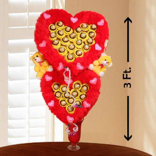 Heart Shape of 32 Pcs Ferrero Rocher Chocolate and 2 Teddy Bear 6 inches in a Glass Vase