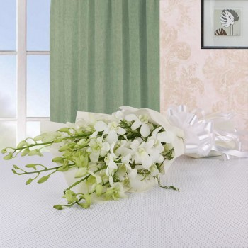 6 White Orchids with White paper