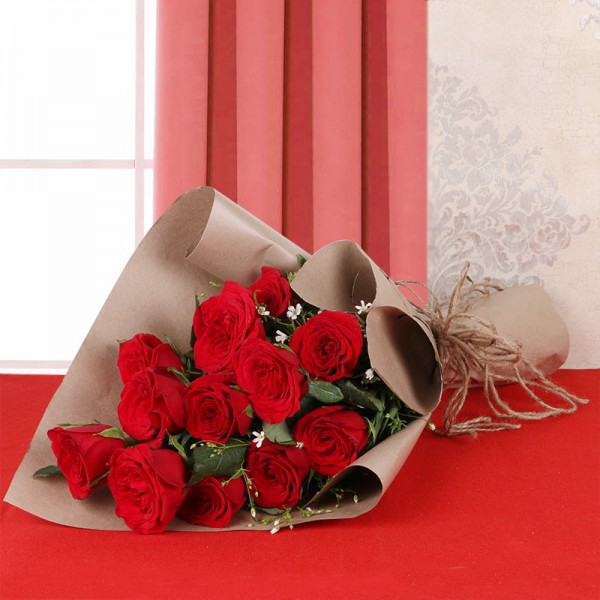 12 Red Roses with Brown Paper