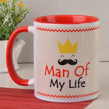 Personalised Photo Red Handle Mug for Him