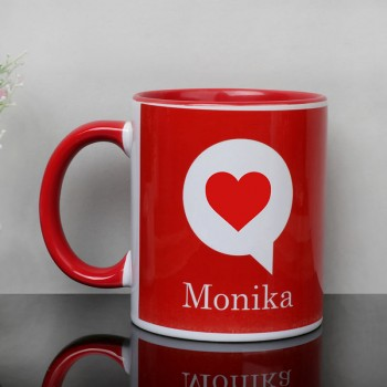 Personalised Heart Design Printed Name Red Coffee Mug