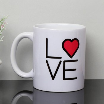"One Printed ""Love"" Theme White Mug (350 ml)"