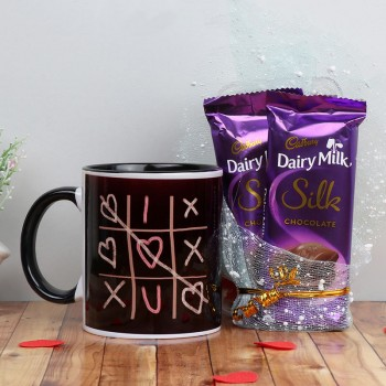 XOXO Theme Printed Black Mug with 2 Dairy Milk Silk
