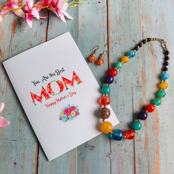 One Mothers Day Greeting Card (6 inches) with Multicolor Stone Necklace Set