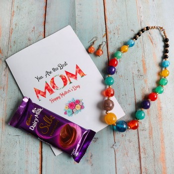 Set of Dairy Milk Silk, Multicolor Pearl Necklace and a greeting card for Mom