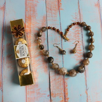 Brown Color Pearl Necklace with 4 pcs Ferrero Rocher Chocolate