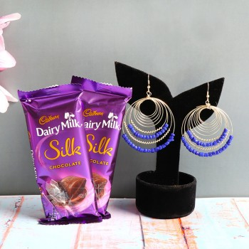 One Set of Blue Earings (JW-32) with 2 Dairy Milk Silk Chocolate