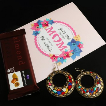 Greeting Card with Designer Earrings and Chocolate for Mother