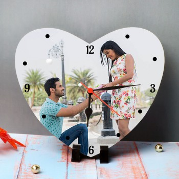 One Personalised Heart Shape Table Clock