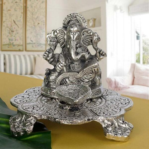 Silver Plated Meta Ganesha Idol