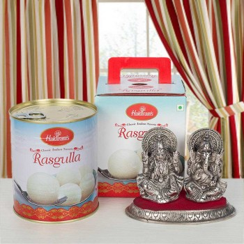 Rasgulla Tin Pack with Metal Laxmi Ganesha