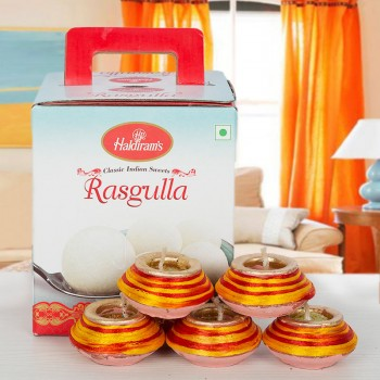 Rasgulla Tin Pack with Diwali Diyas