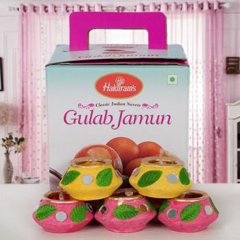 Gulab Jamun Tin Pack with Diwali Diyas