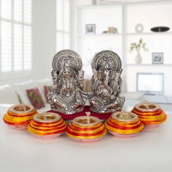 Diwali Diyas with Silver Plated Metal Laxmi Ganesha