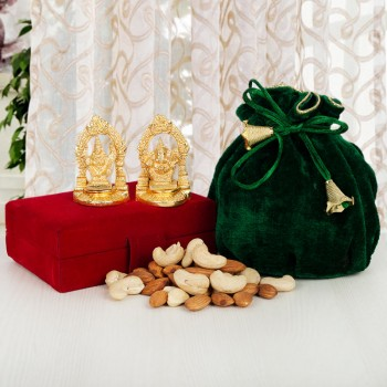 Golden Laxmi Ganesha with Dryfruit Potlis