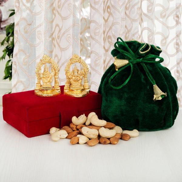 Golden Laxmi Ganesha with Dryfruit Potlis