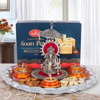 Pooja Thali with Silver Plated Ganesha and Diwali Diyas with Soan Papdi
