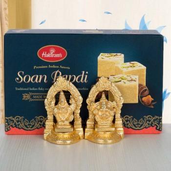 Golden Laxmi Ganesha with Soan Papdi