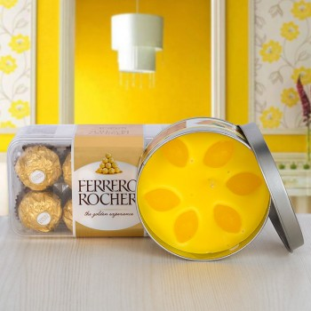 16 pcs Ferrero Rocher Chocolate with Tin Lemon Scented Candle