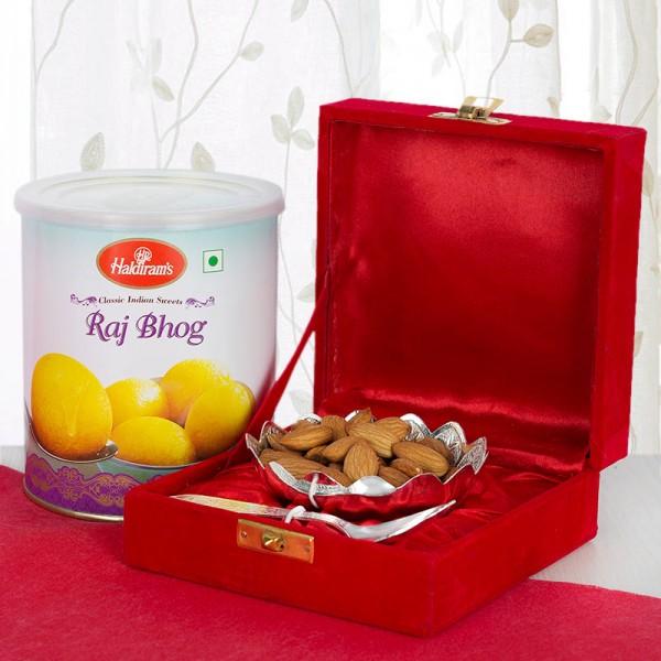 Silver Bowl Gift Set with Raj Bhog