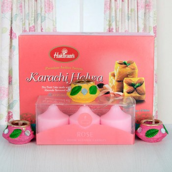 Pack of Scented Candles with Haldiram Karachi Halwa and Diyas for Diwali