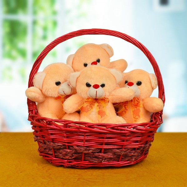 4 Teddy Bears In A Basket