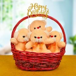 Teddy In A Basket For Birthday