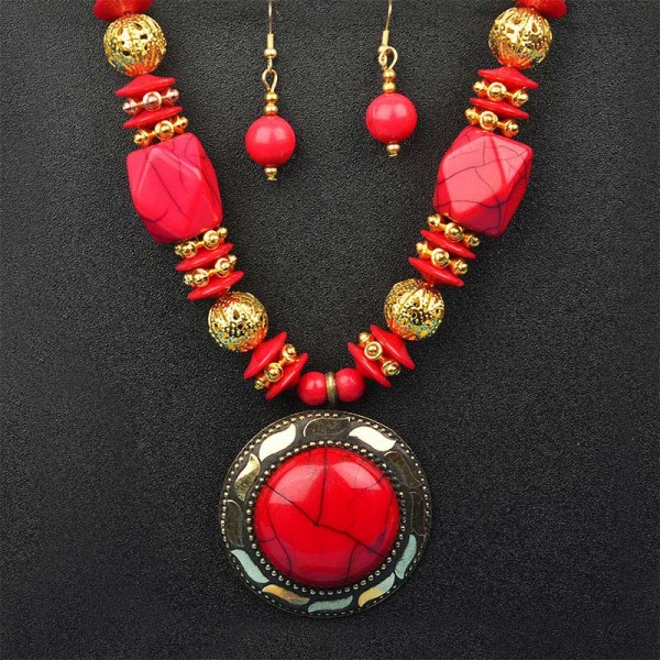 Red and Golden Necklace Set